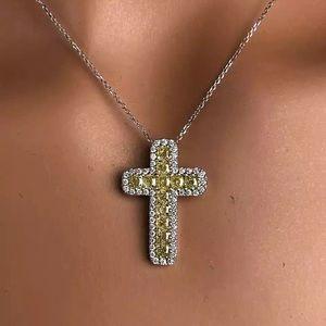 3ct Canary Cross Pendant